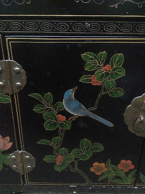 Black Lacquer Chinese 2 Drawer 2 Door Altar Table Oriental Cabinet Birds Flowers 2