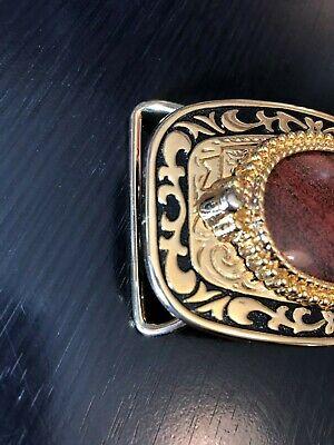Polished Stone Belt Buckle Rusty Gold Tone and Black Swirl Body 3