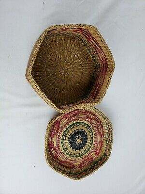 Nice native american? hexagonal covered weaved box 5