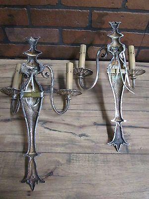 Vintage Antique Pair Wall Sconces Silver Plate 2 Arm Wall Lights 12