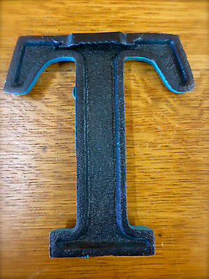 "BLUE CAST IRON WALL LETTER ""T"" 6.5"" TALL rustic vintage decor sign child nursery 5"