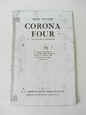 *corona 4* Portable Typewriter-Photocopy Of A Well Thumbed Instruction Booklet 3