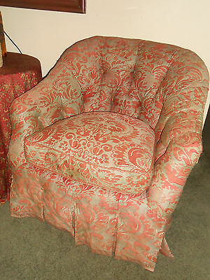 STUNNING Pair Vintage Fortuny Chairs Upholstered Corone Fabric Down Fill Tufted 3