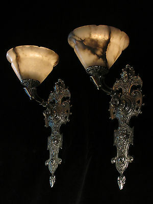wall lights pair silver plate SOLID BRONZE & REAL ALABASTER INDUSTRIAL LIGHTS 9