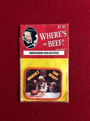 VINTAGE NOS WENDY/'S RESTAURANT 1984 WHERE/'S THE BEEF IRON ON PATCH LESHNER CORP