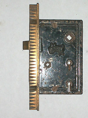 Antique Victorian Eastlake Entry Thumb Turn Door Lock BY    R.H.Co.