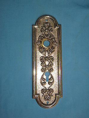 Antique Solid Cast Brass Door Backplate & Knob Victorian Design 4