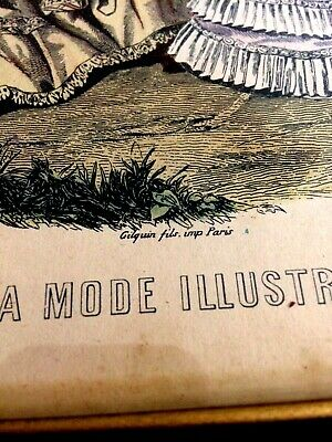 Vintage Victorian Print La Mode Illustree Paris  French Ladies Womens Fashion 2