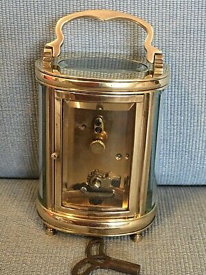 Nice Old c1920 Miniature Oval French Carriage Clock Original Lever Escapement 3