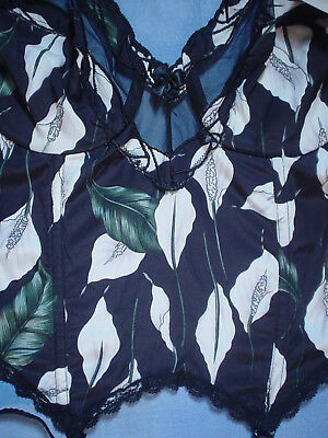 Vintage Valentino 2701 Bustier with Sheer Trim Size 34B in a Calla Lily Print 5