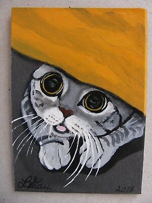 """A669    Original Acrylic Aceo Painting By Ljh        """"Joey""""  Cat  Kitten 11"""