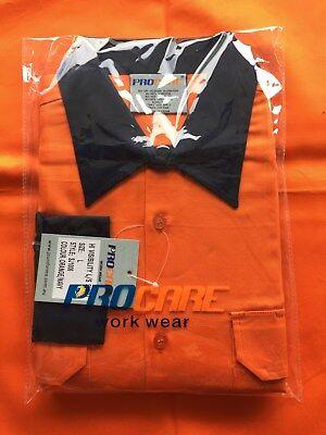 5 x Hi Vis Work Shirt vented cotton drill long sleeve SAFETY WORKWEAR UNIFORM 5