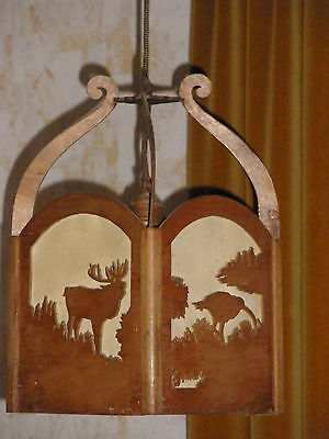 Lampe Holzlampe Deckenlampe Jagdmotive Hirsch Auerhahn Wildschwein Gemse 2