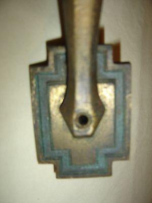 Antique Cast Brass Thumb Press Door Handle Deco Design with Green Accents - 9804