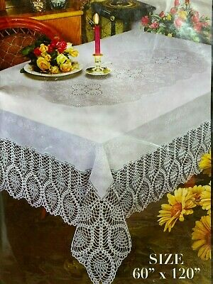 ... Better Home Crochet Vinyl Lace Tablecloth White, Ivory, Clear NEW 3