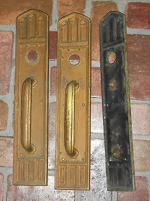 Antique Huge Gothic Door Handles and Backplates 2