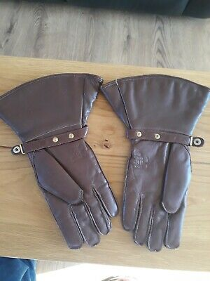 Vintage Fownes  Brown Leather Gloves, Wool Lined, Ideal For Vitage Motoring 2