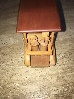 Carved Wood Golf Cart Complete with Golf Bags and Clubs Multi Colored Wood Doug 3