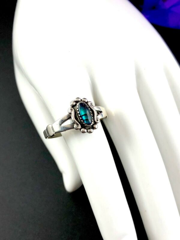 Striking Signed Wheeler Manufacturing Sterling Silver Paua Shell Accent Ring 4
