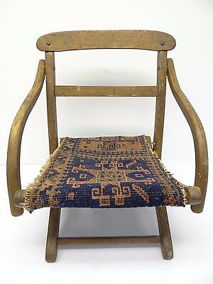 Antique Wood Wooden Blue & Red Oriental Prayer Rug Seat Kids Childrens Chair 2
