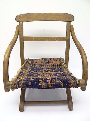 Antique Wood Wooden Blue & Red Oriental Prayer Rug Seat Kids Childrens Chair 2