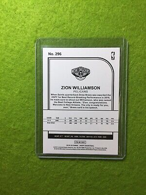 ZION WILLIAMSON ROOKIE CARD JERSEY #1 PELICANS RC 2019-20 Panini HOOPS rookie rc 10