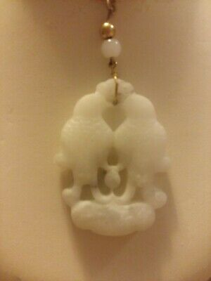 Antique Chinese beautiful white Jade Love Birds, h/c  Pendent w/gold clad chain. 6