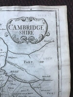 1695 COUNTY of CAMBRIDGESHIRE Original English Antique Map  Robert Morden RARE 2