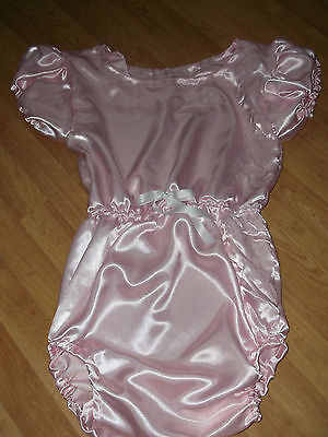 "ADULT BABY SISSY all-in-one PINK SATIN ROMPER SUIT 46"" CHEST SLEEPSUIT LACE BACK 2"