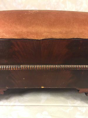 Antique Empire Mahogany Footstool w/ Upholstered Top 3