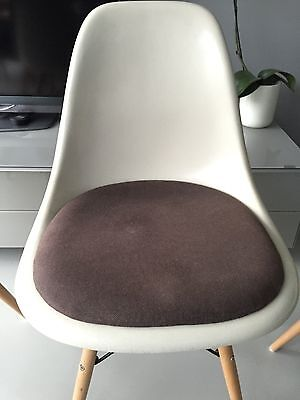 Vitra Original Charles Eames fibreglass upholstered chairs with dowel bases 2