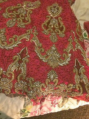 Indian Bridal Wedding Lengha Red Net Pink Thread With Gold & Silver Embroidery 5