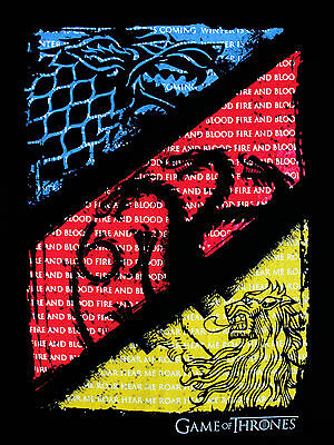 Game of Thrones 3 House Crests and Quotes Stark Lannister Black Mens T-shirt 2