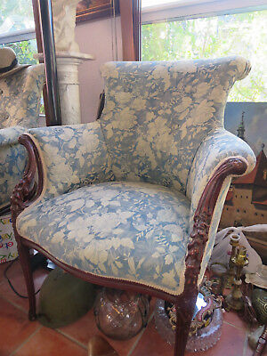 Pair ANTIQUE VICTORIAN WINGBACK ARM CHAIR