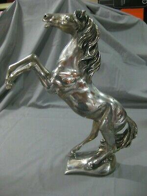 Espectacular Escultura Caballo De Bronce Con Baño De Plata-40 Cms-Made In Italy 4