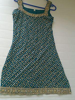 Deep sea green heavy sequine knee length kameez/pajama suit with dupputta, 3