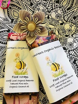 Organic Beeswax food Wraps, Wax Wraps Reusable pack of TWO 1x Large +medium. Eco 6