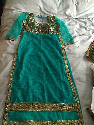 New Indian Asian Turquoise And Gold dress Churidar And kameez 6