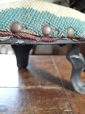 A Rare Little Victorian Footstool With Cast Iron Legs 8