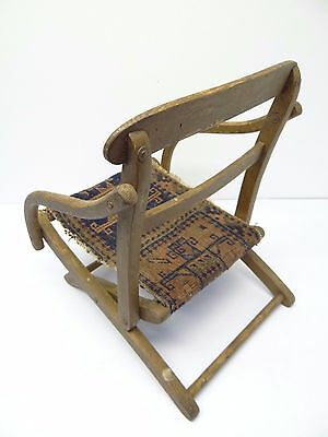 Antique Wood Wooden Blue & Red Oriental Prayer Rug Seat Kids Childrens Chair 10