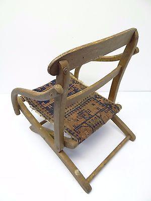 Antique Wood Wooden Blue & Red Oriental Prayer Rug Seat Kids Childrens Chair 10
