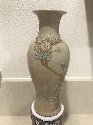Antique Chinese Handmade Vase With 3D Tree And Flowers 3