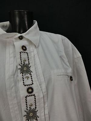 Gr.XXL Trachtenhemd Hemd Solo weiße Baumwolle Edelweiß Stickerei TH1116 2