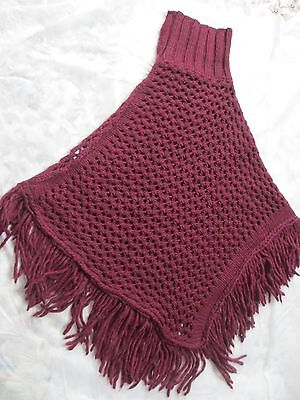 BERRETTI  Poncho  Made in ITALY Burgundy (One Size) NEW 2