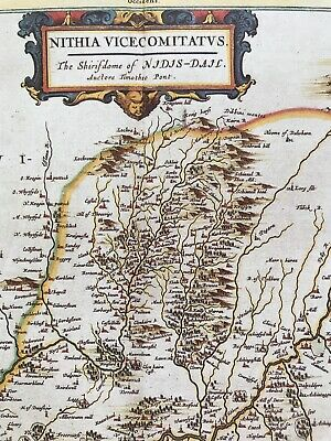 Historic Antique vintage Old Map: Nithsdale, River Nith,  Scotland 1600s REPRINT 4