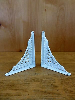 "2 SMALL WHITE ANTIQUE-STYLE 5"" CAST IRON SHELF BRACKETS garden rustic EASTLAKE 2"