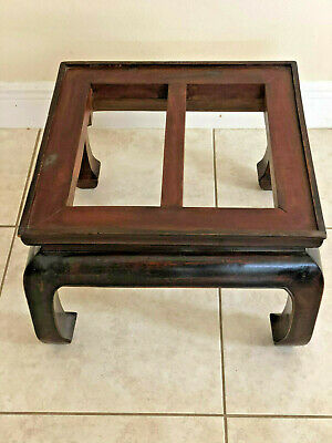 Antique Chinese Ice Chest Qing Period Box +Stand Bats Original Lacquer Shanxi 9