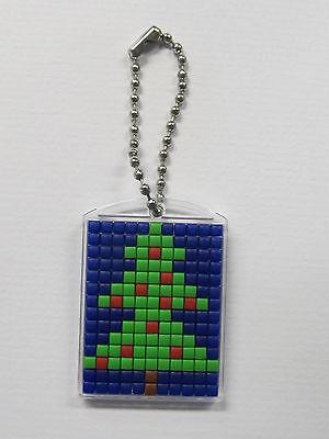 Mini-Pixelhobby Schlüsselanhänger blau / Medaillon mit Metallkette
