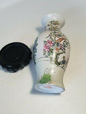 🔅 chine vase a décor oiseaux, papillons, floral à identifier 6
