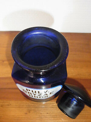 Seltene Apothekenflasche PULV: ORYZAE ODOR 19.Jh. Kobaltblau. 4